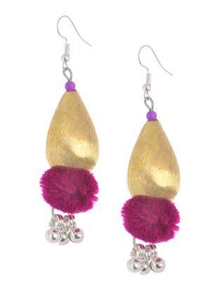Purple Wool Pom-pom Earrings