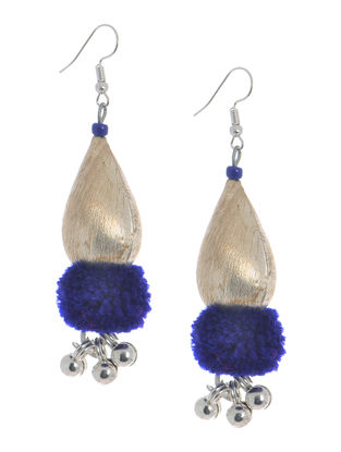 Blue Wool Pom-pom Earrings