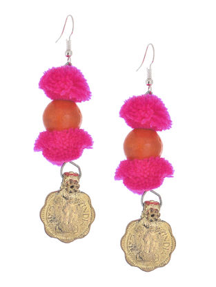 Pink Wool Pom-pom Earrings with Coin Design