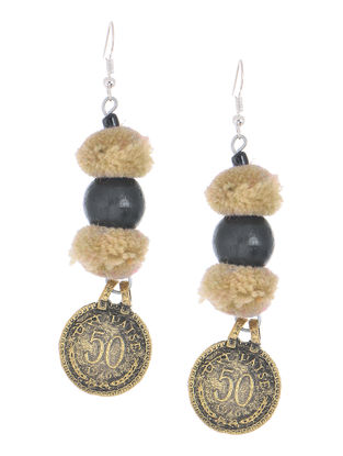 Beige Wool Pom-pom Earrings with Coin Design