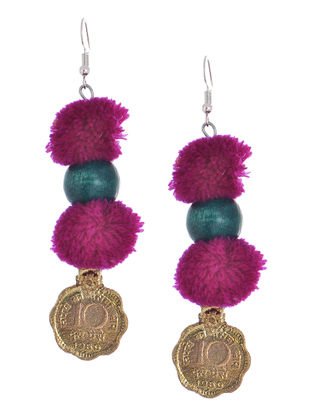 Purple Wool Pom-pom Earrings with Coin Design