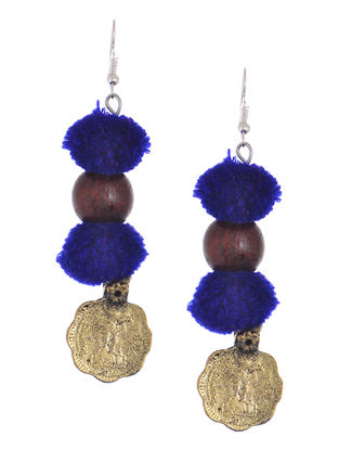 Blue Wool Pom-pom Earrings with Coin Design