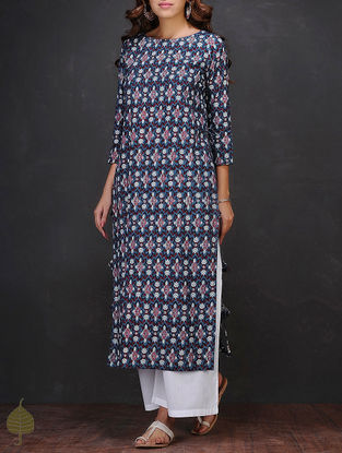 Blue-White Block-printed Boat Neck Cotton Kurta by Jaypore