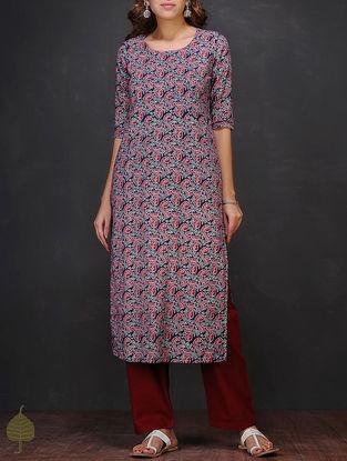 Blue-Maroon Block-printed Round Neck Cotton Kurta by Jaypore