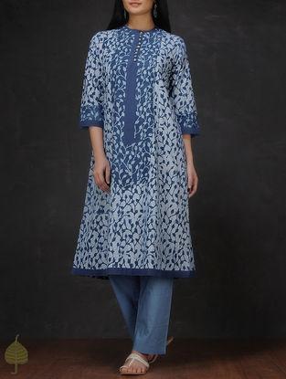 Indigo-Ivory Natural-dyed Dabu-printed Cotton Kurta by Jaypore