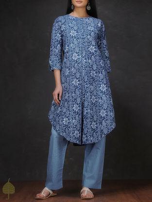 Indigo-Ivory Natural-dyed Dabu-printed Asymmetrical Cotton Kurta by Jaypore