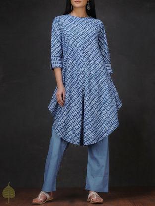 Indigo-Ivory Natural-dyed Dabu-printed Cotton Kurta with Asymmetrical Hem by Jaypore