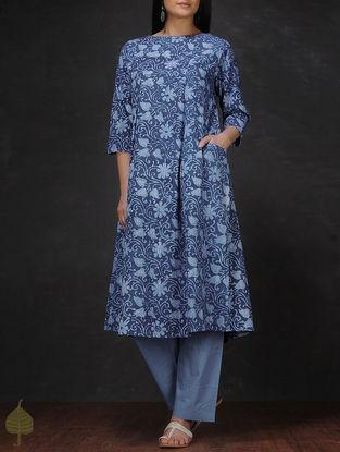 Indigo-Ivory Natural-dyed Dabu-printed Cotton Kurta with Pocket by Jaypore