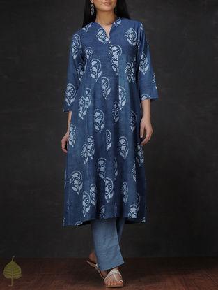 Indigo-Ivory Natural-dyed Dabu-printed Cotton Flared Kurta by Jaypore