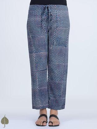 Indigo-Madder Dabu-printed Tie-up Waist Cotton-Khadi Pants by Jaypore