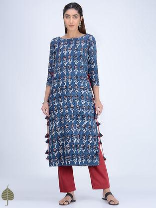 Indigo-Madder Dabu-printed High-slit Cotton-Khadi Kurta by Jaypore