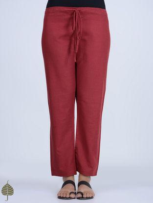 Madder Tie-up Waist Handloom Cotton Pants by Jaypore