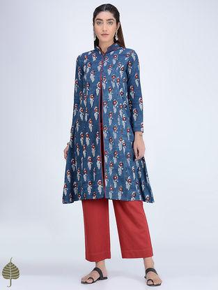 Indigo-Madder Dabu-printed Mandarin Collar Cotton-Khadi Kurta by Jaypore