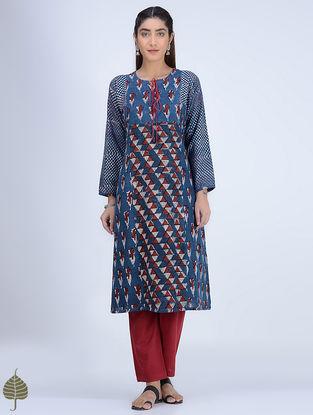 Indigo-Madder Dabu-printed Cotton-Khadi Kurta by Jaypore