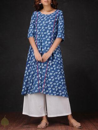 Indigo-White Natural-dyed Dabu-printed Round Neck Cotton Kurta by Jaypore