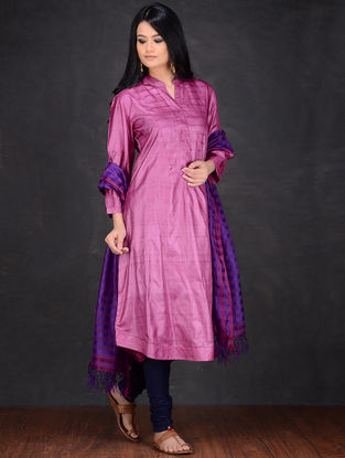 Pink Pleated Neck Tussar Kurta by Jaypore