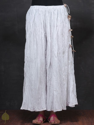 White Crinkled Tie-up Waist Cotton Mul Palazzos by Jaypore