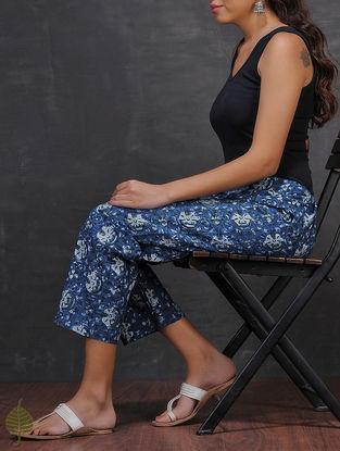 Indigo-White Natural-dyed Dabu-printed Tie-up Waist Cotton Pants by Jaypore