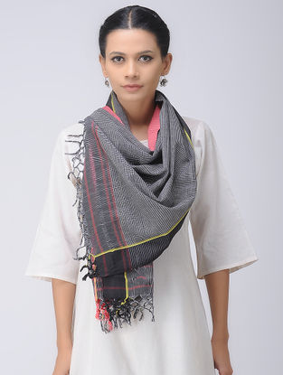 Black-Pink Patteda Anchu Cotton Stole