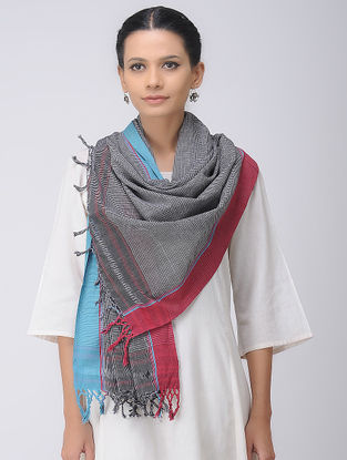 Black-Blue Patteda Anchu Cotton Stole