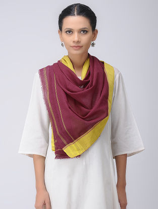 Maroon-Yellow Patteda Anchu Cotton Stole