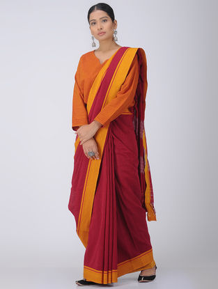Red-Mustard Patteda Anchu Cotton Saree