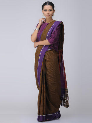 Brown-Purple Patteda Anchu Cotton Saree