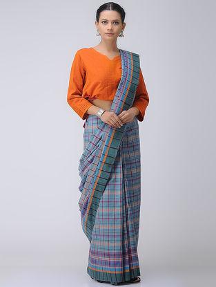 Green-Blue Cotton Gamcha Saree