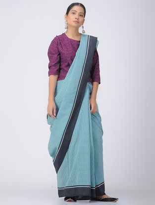 Blue-Black Patteda Anchu Cotton Saree