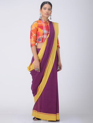 Magenta-Yellow Patteda Anchu Cotton Saree