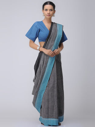 Black-Blue Patteda Anchu Cotton Saree