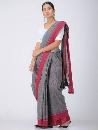 Black-Red Patteda Anchu Cotton Saree