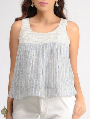 White-Blue Striped Organic Cotton Top with Gathers by Jaypore