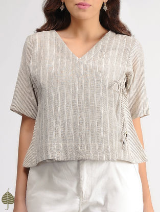 White-Brown Striped Organic Cotton Top by Jaypore