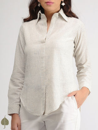 White-Blue Checkered Organic Cotton Shirt by Jaypore