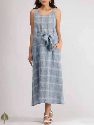 White-Blue Round Neck Organic Cotton Dress with Belt by Jaypore