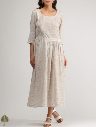 White-Brown Checkered Organic Cotton Dress by Jaypore with Gathers by Jaypore