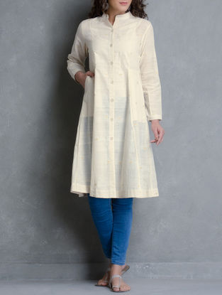 Off White Hand Woven Cotton Jacket with Pockets by Jaypore