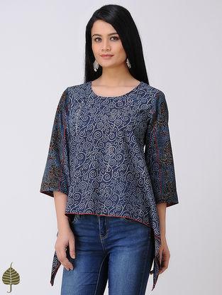 Indigo-Madder Ajrakh Cotton Top by Jaypore