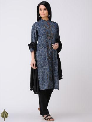 Indigo-Madder Ajrakh Cotton Kurta by Jaypore