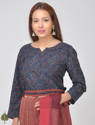Indigo-Madder Ajrakh Cotton Blouse by Jaypore