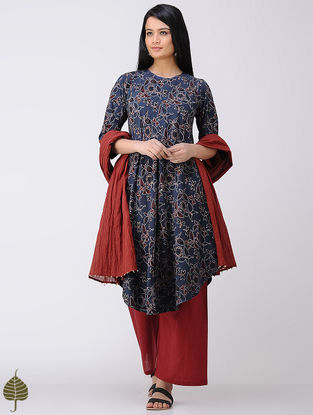 Indigo-Madder Ajrakh Cotton Kurta by Jaypore