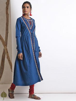 Blue Hand-embroidered Rabari Handloom Cotton Angrakha by Jaypore