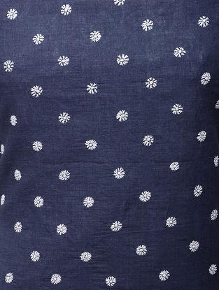 Indigo-White Chikankari Handloom Khadi Blouse Fabric by Jaypore