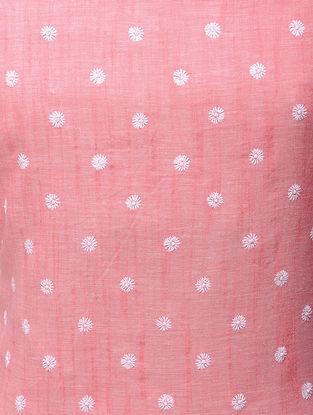 Pink-White Chikankari Handloom Khadi Blouse Fabric by Jaypore