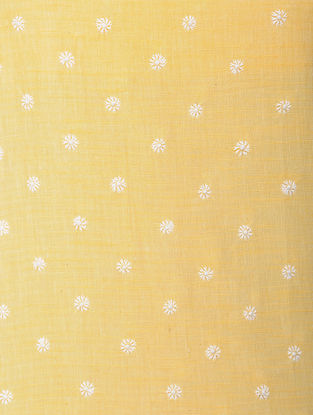 Yellow-White Chikankari Handloom Khadi Blouse Fabric by Jaypore