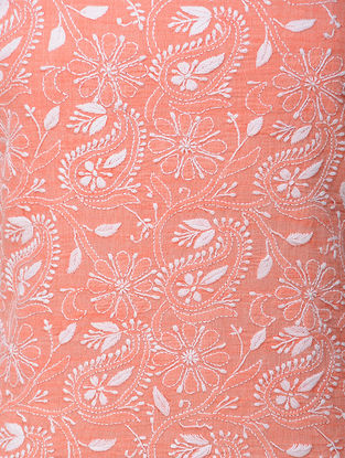 Orange-White Chikankari Handloom Khadi Blouse Fabric by Jaypore