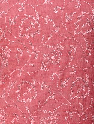 Red-White Chikankari Handloom Khadi Blouse Fabric by Jaypore
