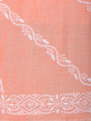 Orange-White Chikankari Handloom Khadi Blouse Fabric by Jaypore
