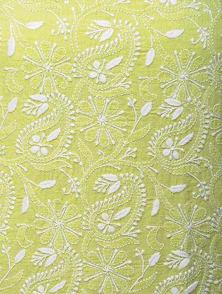 Green-White Chikankari Handloom Khadi Blouse Fabric by Jaypore
